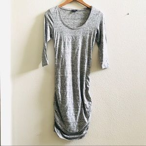 EXPRESS Gray T-shirt knit ruched bodycon dress XS